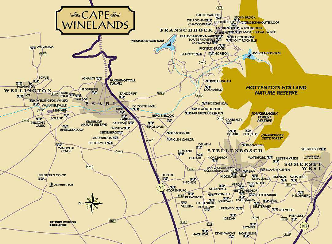 cape winelands route map